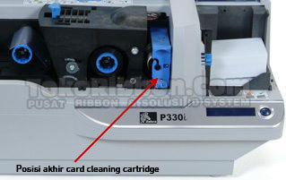 posisi card cleaning cartridge printer kartu zebra-p330i