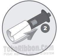 Masukkan cleaning sleeve ke spindle printer Datacard SP25 Plus