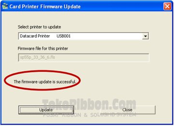 Upgrade firmware Datacard SP Series berhasil